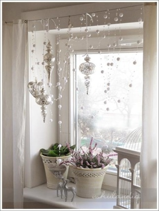 Christmas window decorations white